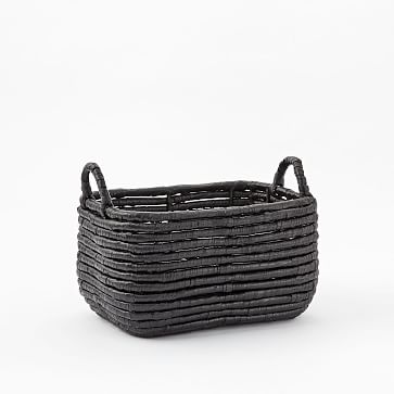 Woven Seagrass Baskets, Black, Small Recantagle