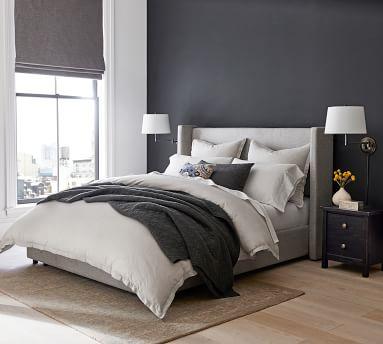 Elliot Shelter Upholstered Headboard with Footboard Storage Platform Bed, King, Basketweave Slub Ivory