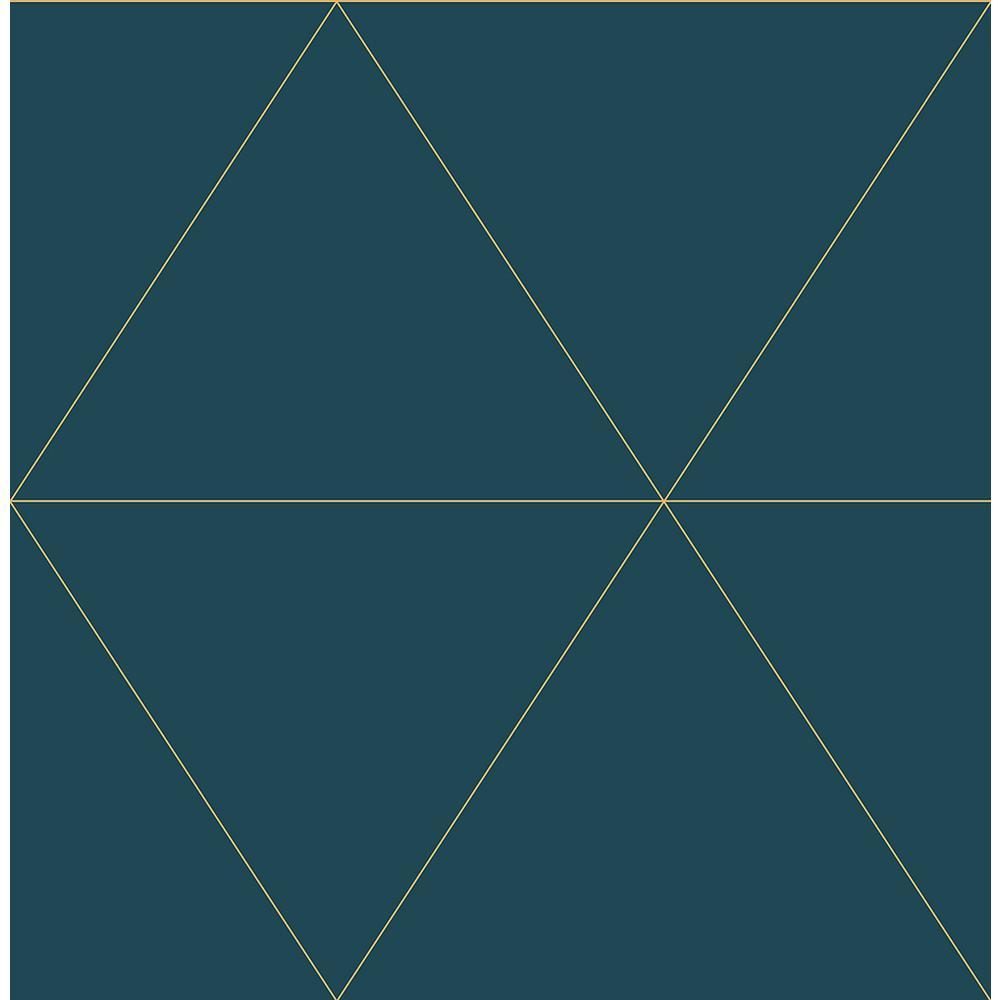 56.4 sq. ft. Twilight Teal (Blue) Geometric Wallpaper
