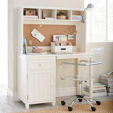 Beadboard Space Saving Desk, Simply White
