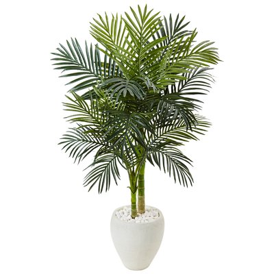 Artificial Golden Cane Floor Palm Tree in Stone Planter