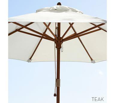 9' Round Market Umbrella with Aluminum Pole - Outdoor Canvas, Natural