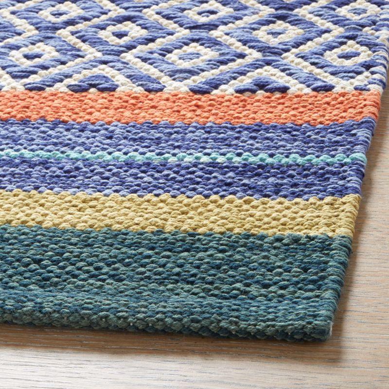 Yumi Blue Multi-Color Rag Rug 2'x3'