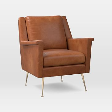 Carlo Mid-Century Chair, Leather, Saddle, Brass