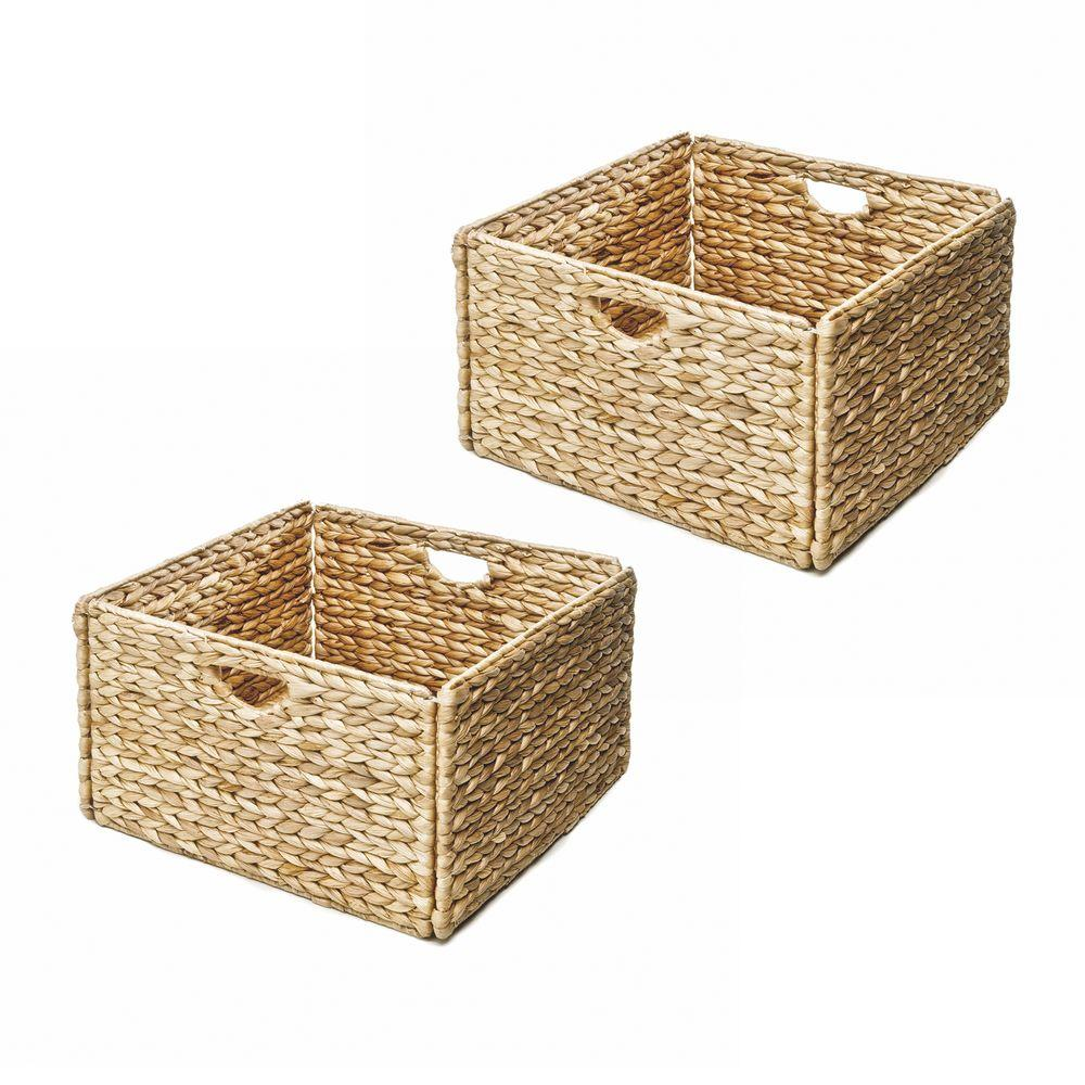 13 in. x 8 in. Woven Hyacinth Storage Basket (2-Pack), Tan