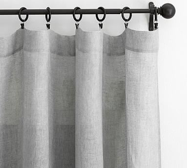 "Belgian Flax Linen Poletop Sheer Drape, 50 x 96"", Gray"