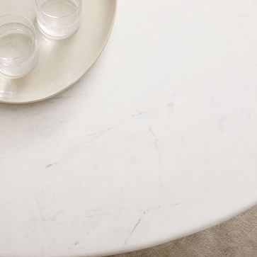 Silhouette Pedestal Dining Table, Round White Marble, Brushed Nickel