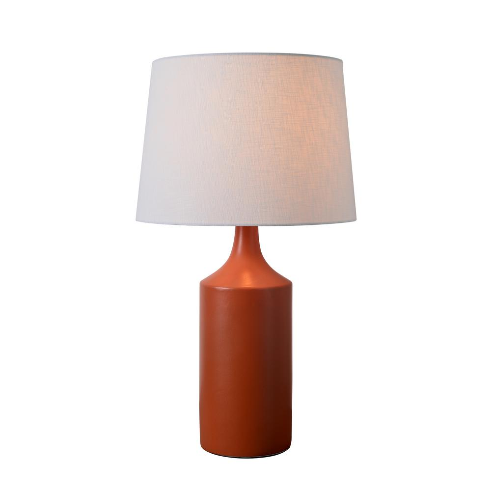 kenroy home Crayon 25 in. Orange Table Lamp with White Linen Shade