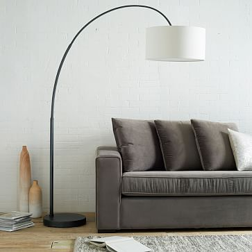 Overarching Floor Lamp, Antique Brass, Natural