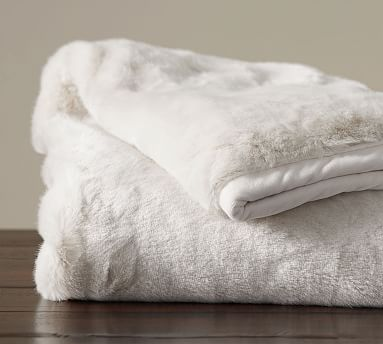 "Faux Fur Throw, 50x60"", Ivory Alpaca"