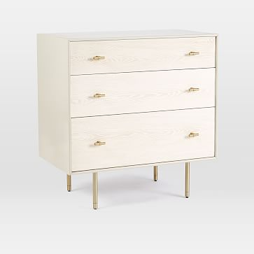 Modernist Wood + Lacquer 3-Drawer Dresser - Winter Wood