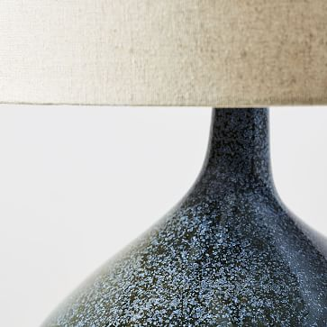 Asymmetry Ceramic Table Lamp, Small, Speckled Moss