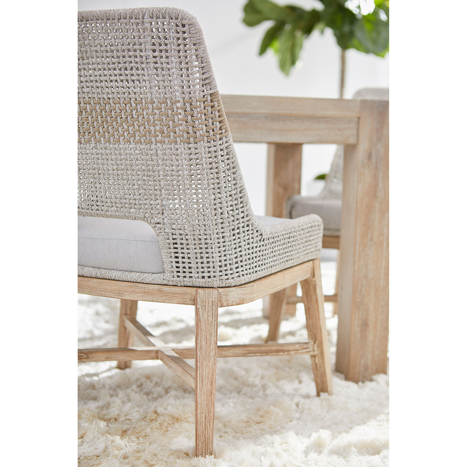 Theodore Modern Grey Woven Fixed Cushion Mahogany Dining Side Chair - Set of 2