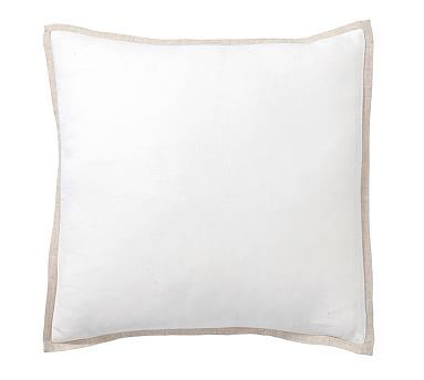 "Belgian Flax Linen Contrast Flange Pillow Cover, 18"", Smoke/White"