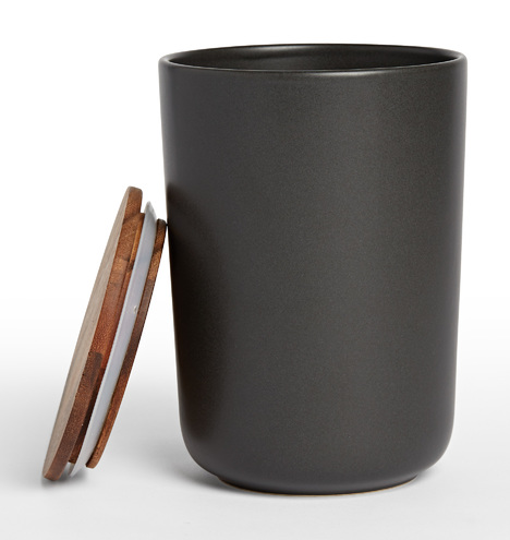 Black Extra Large Canister with Wood Lid