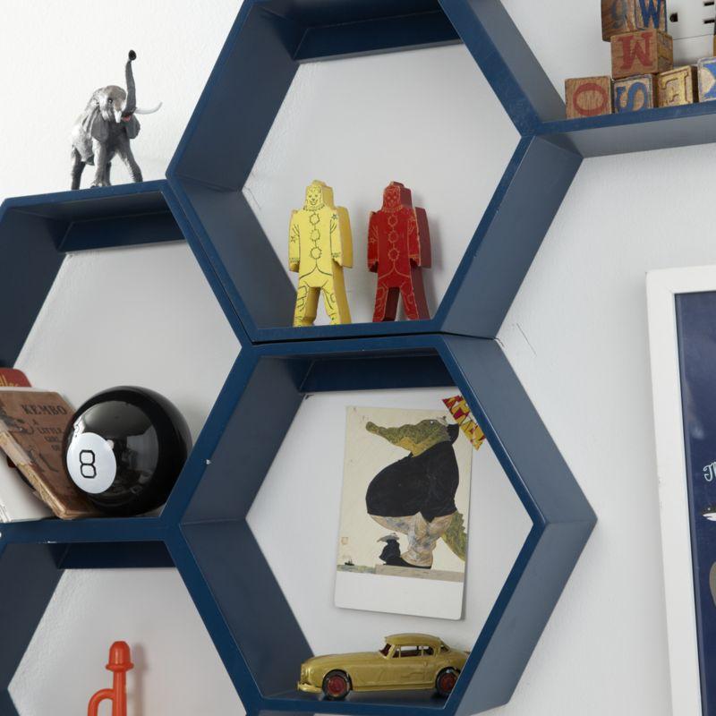 Honeycomb Blue Hexagon Shelf