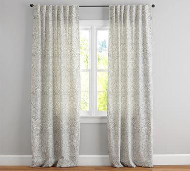 "Mackenna Paisley Linen Cotton Drape, 50x84"", Taupe"