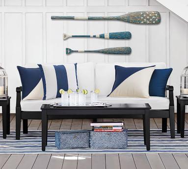 """PB Classic Stripe Indoor/Outdoor Pillow, 20"""", Ink Blue"""