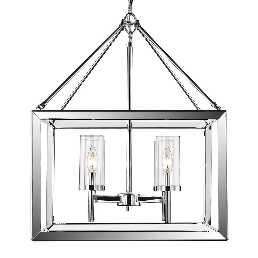 Golden Lighting Smyth 4-Light Chrome Chandelier with Clear Glass Shade