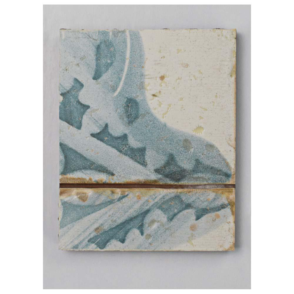 Merola Tile Artisan Azul Decor Ceramic Floor and Wall Tile - 3 in. x 4 in. Tile Sample, White And Azul/Low Sheen