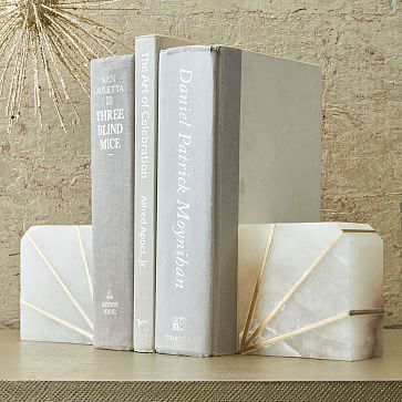Stone Bookend, Alabaster, Set of 2