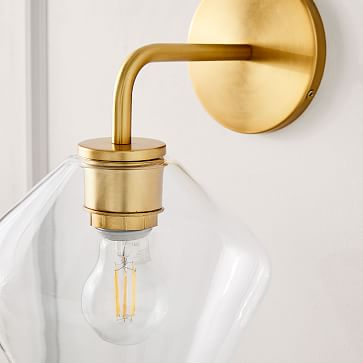 Sculptural Glass Geo Sconce, Small Geo, Clear Shade, Brass Canopy