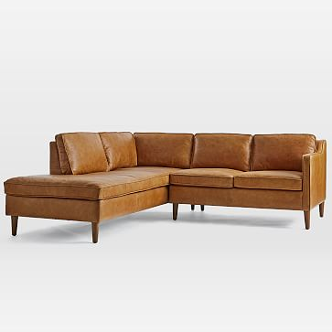 Hamilton Sectional Set 06: Left Arm Sofa, Right Arm Terminal Chaise, Poly, Charme Leather, Burnt Sienna, Almond