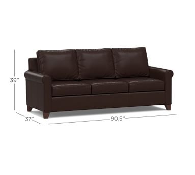 """Cameron Roll Arm Leather Sofa 90.5"""", Polyester Wrapped Cushions, Leather Vintage Cocoa"""