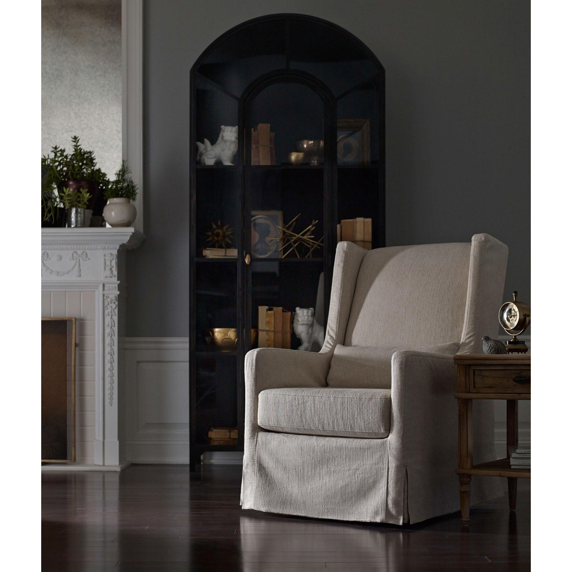 Stancil Industrial Loft Matte Black Iron Arched Cabinet