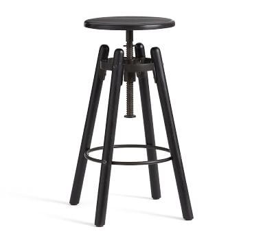 Duval Adjustable Stool, Painted Black