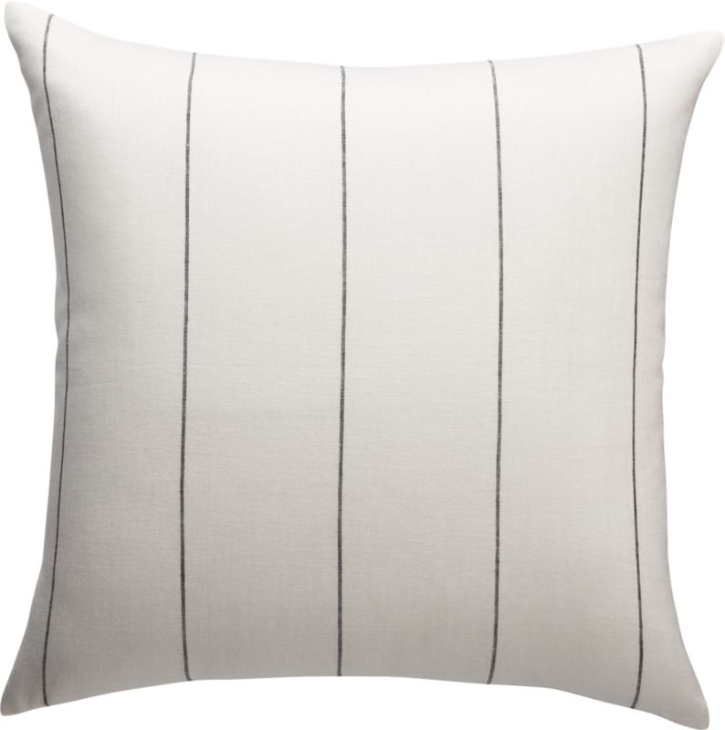 """20"""" Pinstripe White Linen Pillow with Feather-Down Insert"""