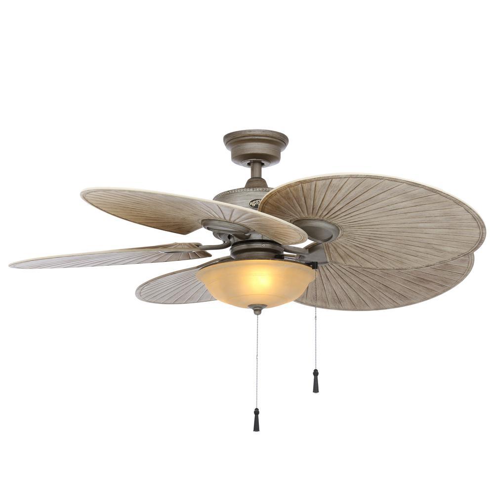 Hampton Bay Havana 48 In Led Indoor Outdoor Cambridge Silver Ceiling Fan With Light Kit Home Depot