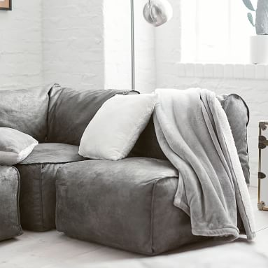 Prescott Sectional Corner, Enzyme-Washed Canvas Charcoal