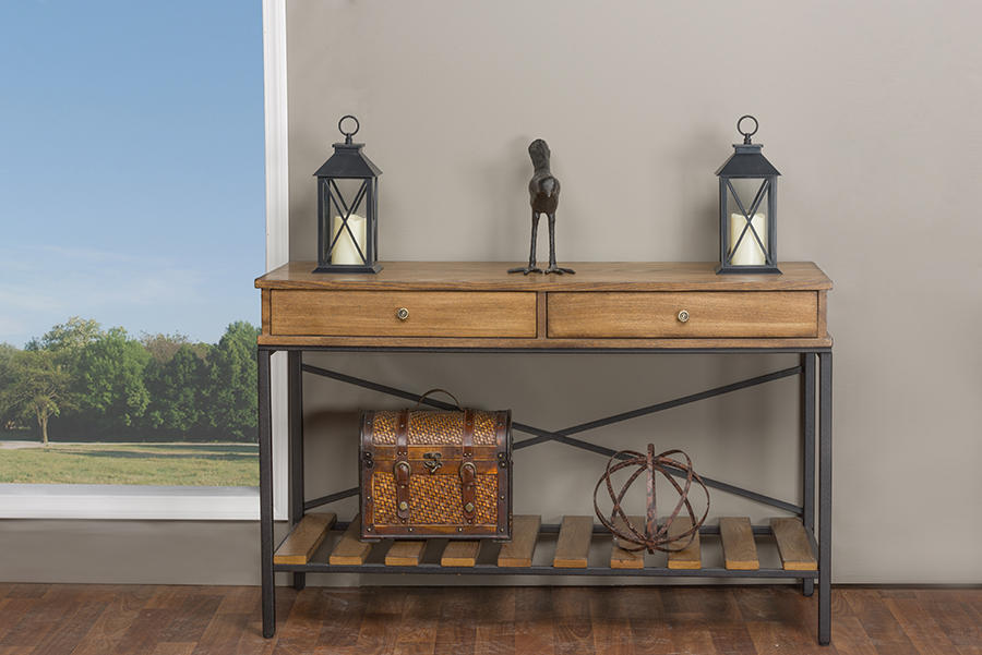 Newcastle Wood and Metal Console Table-Criss-Cross