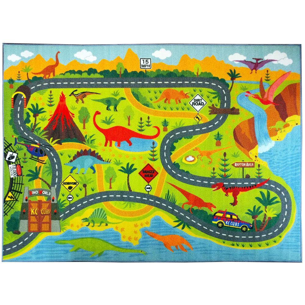 Multi-Color Kids Children Bedroom Dinosaur Dino Safari Road Map Educational Learning Game 5 ft. x 7 ft. Area Rug, Multi-Colored