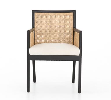 Lisbon Cane Dining Armchair, Brushed Ebony