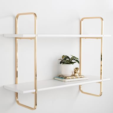 Metallic Trim Shelves, 3', Gold/White