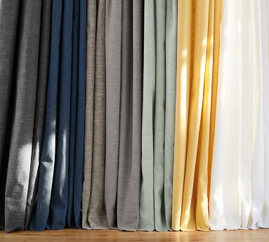 "Emery Linen Poletop Drape, 50 x 84"", Blue Dawn"