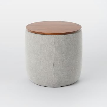 Upholstered Base Ottoman, Small, Twill, Platinum, Dark Walnut