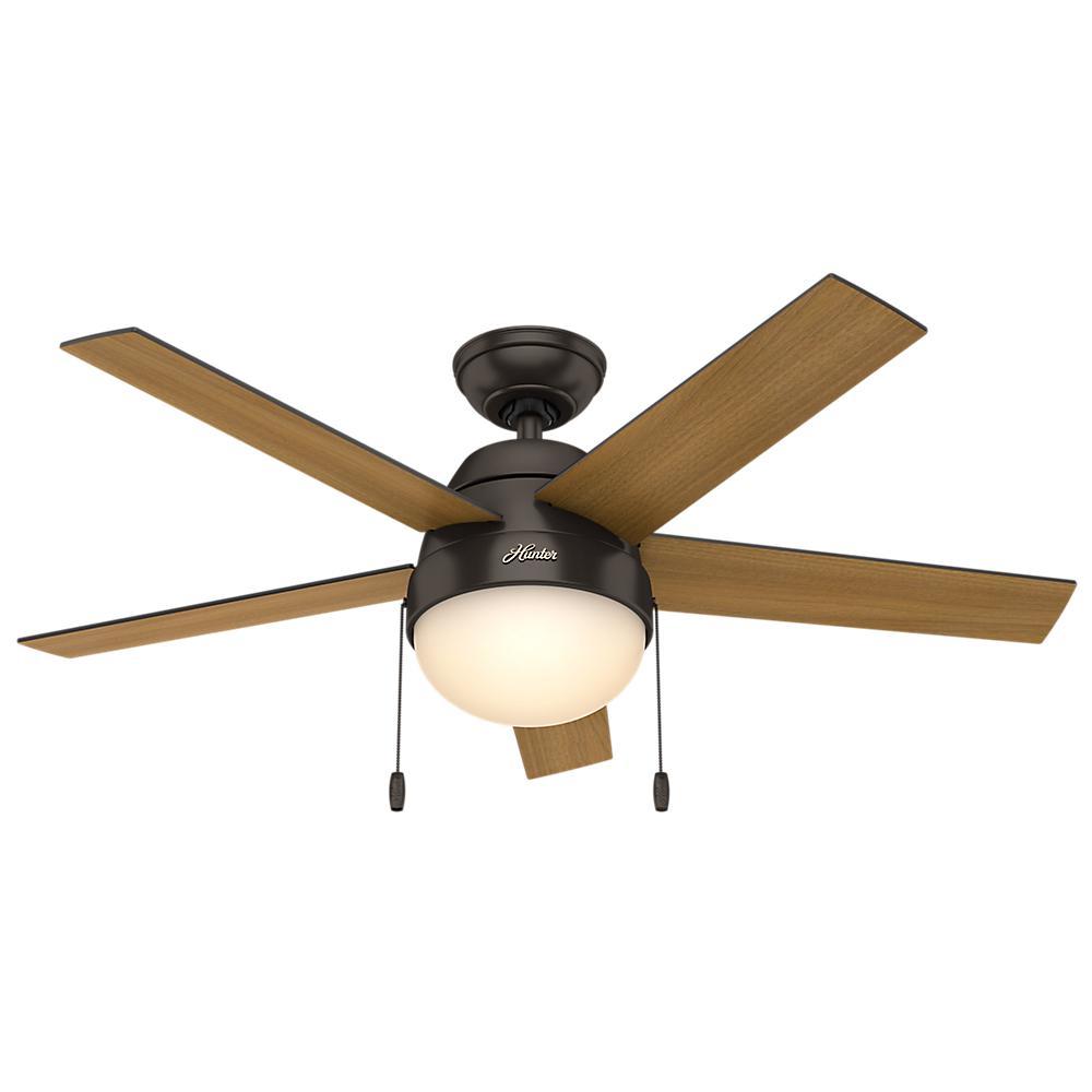 Hunter Anslee 46 in. Indoor Premier Bronze Ceiling Fan with Light