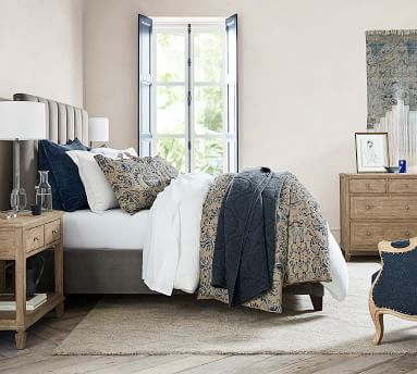 Kira Channel Tufted Upholstered Bed, King, Performance Chateau Basketweave Ivory