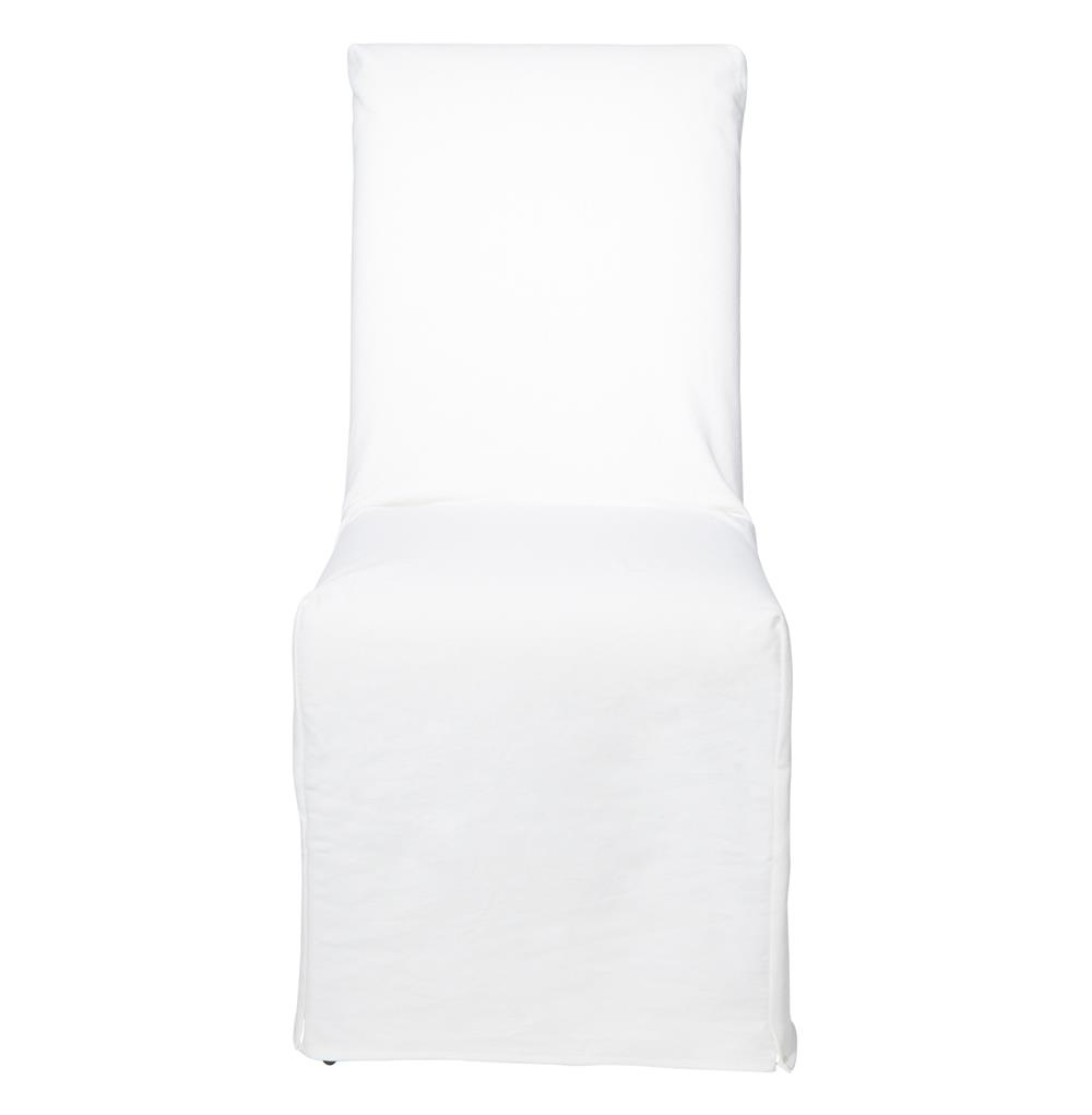 Cisco Brothers Parsons Denim White Cotton Feather Down Slip Cover Dining Chair