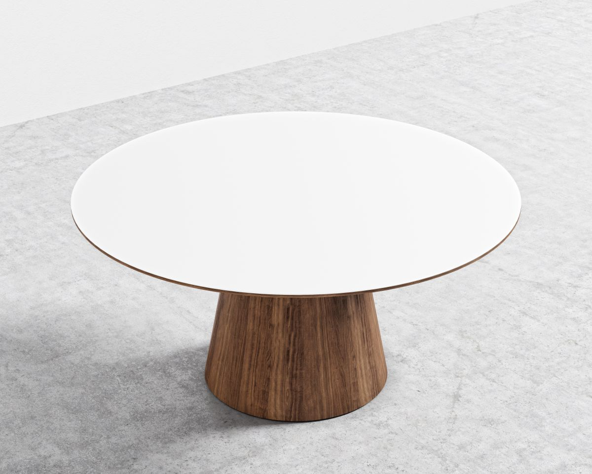 Winston Dining Table - 63- Walnut Veneer High Gloss White Lacquer