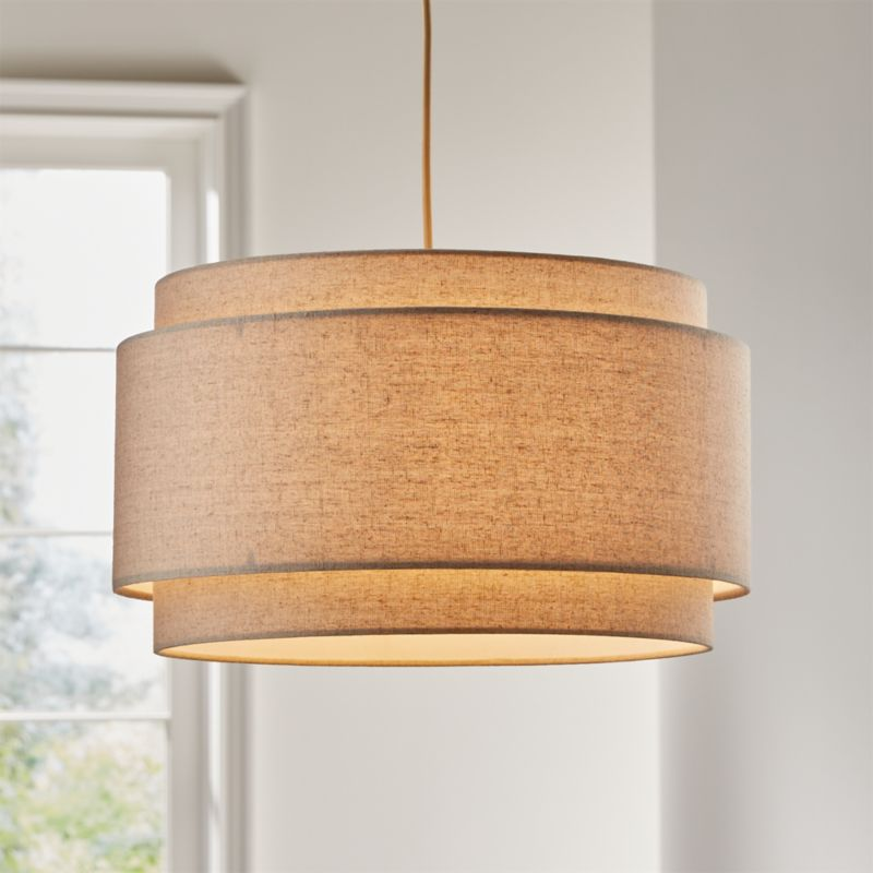 Avery Linen Double Drum Pendant Light