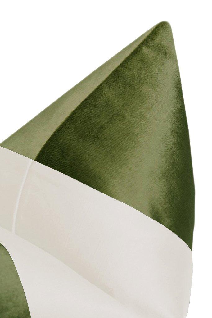 "PANEL Colorblock :: Faux Silk Velvet // Olive + Alabaster Silk - 20"" X 20"""