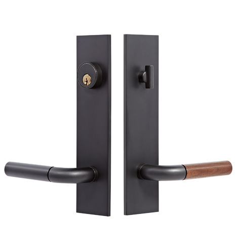Tumalo Walnut Lever Exterior Door Set - Brass