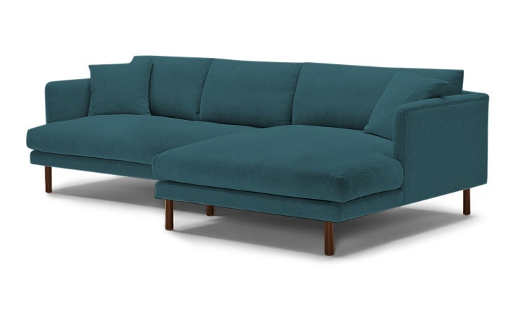Blue Lewis Mid Century Modern Sectional - Cody Pacific - Mocha - Right - Cylinder Legs