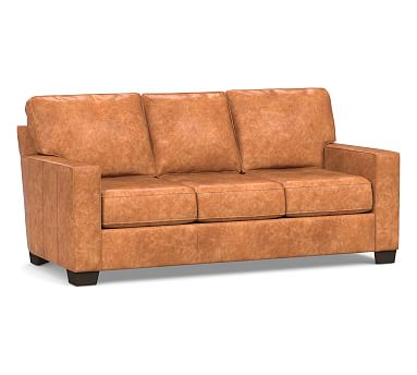 Buchanan Square Arm Leather Sleeper Sofa, Polyester Wrapped Cushions, Statesville Caramel