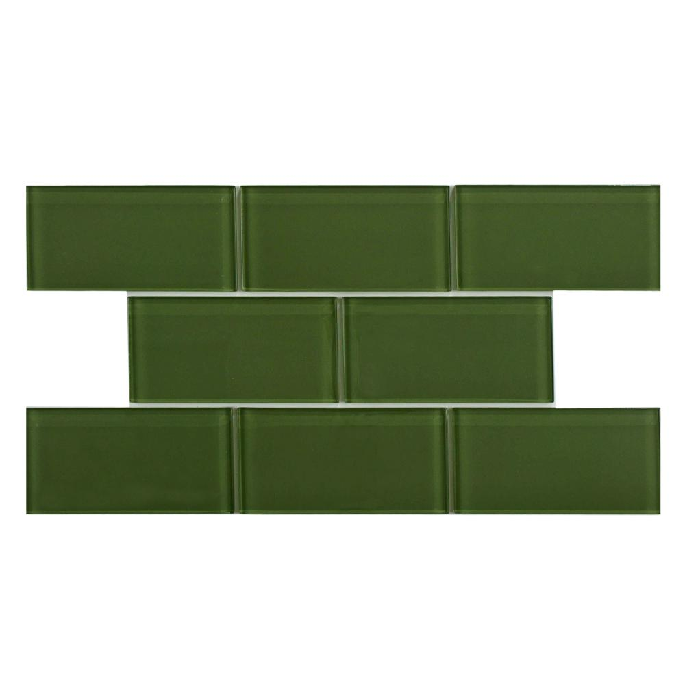 Merola Tile Tessera Subway Sage 3 in. x 6 in. Glass Wall Tile (1 sq. ft. / pack), Green/High Sheen