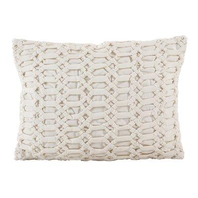 Kirby Smocked Textured Design Decorative Cotton Lumbar Pillow
